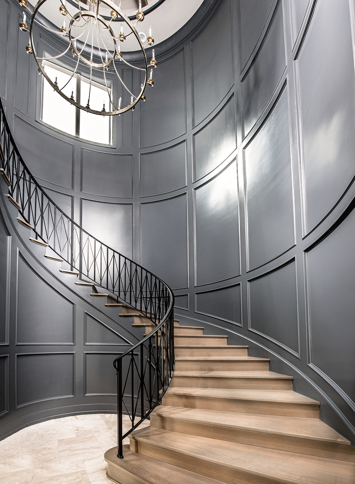 Chateau Pendio gray grand staircase by Brianna Michelle Design