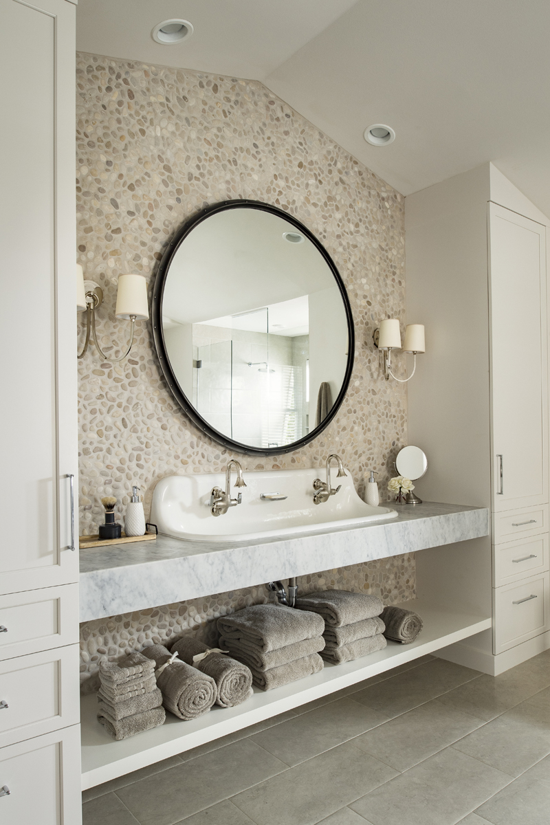 Urban Farmhouse master bathroom by Brianna Michelle Design
