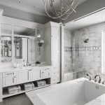 white and marble master bath by Brianna Michelle Design