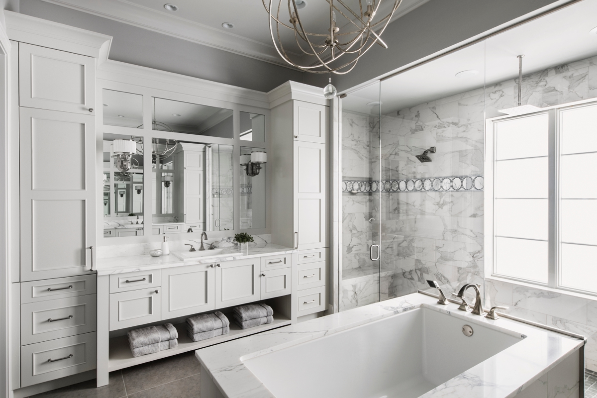Chateau Pendio luxurious white bathroom by Brianna Michelle Design