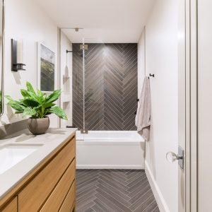 northern frost bathroom with gray tile