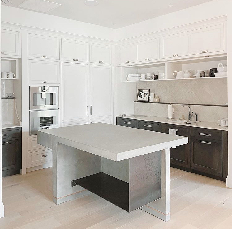 photograph of concrete island in show kitchen