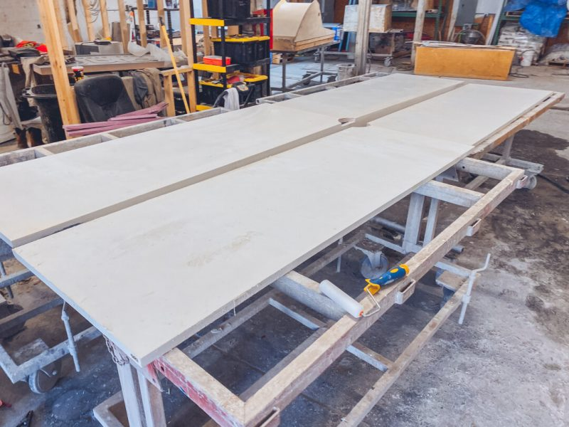 four sides of concrete conference table