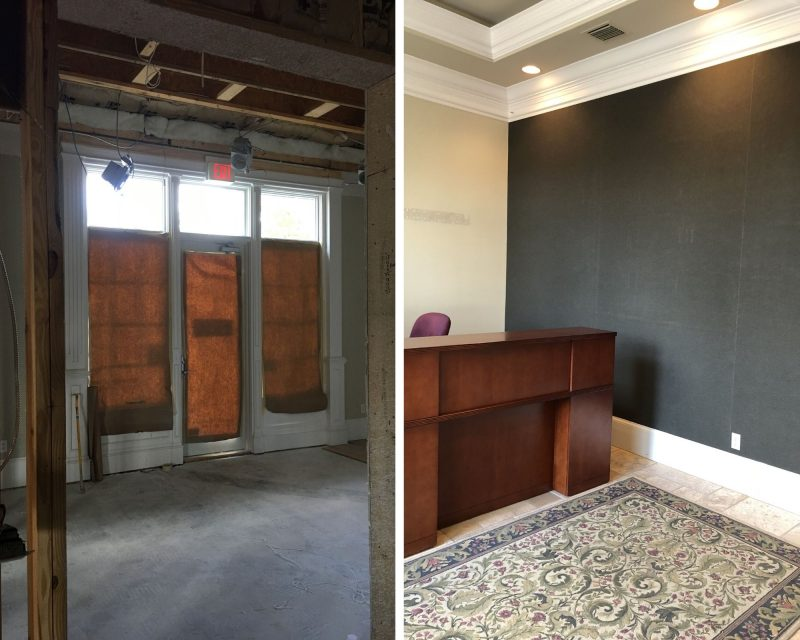 Front interior of building before remodel , 1010 on orange